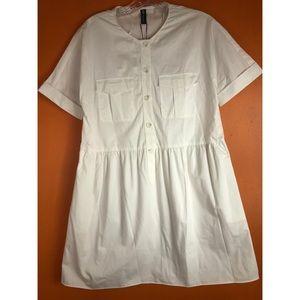 ZARA: white shirt dress